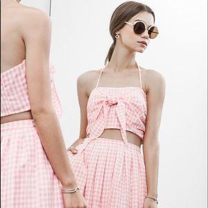 JOA Pink Gingham Bra Top & Skirt Set NWT